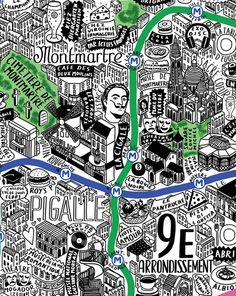 Zoom sur la carte de Paris par Jenni Sparks