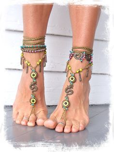 Woodland DRAGON BAREFOOT sandals Key Lime Anklets crochet Gypsy Sandals WANDERLUST Toe Thongs barefoot jewelry bottomless shoes GPyoga