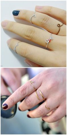 Two Tutorials for Delicate Wire Rings. Top Photo: DIY by Essas Frescurites here. Bottom Photo: DIY by Born in '82 here. For pages more...