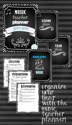 Music teacher planner--a great way to organize your year! Includes divider pages, lists of new music standards, editable pages, and more!
