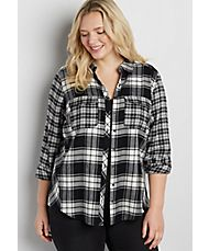 plus size button down flannel shirt in black and white