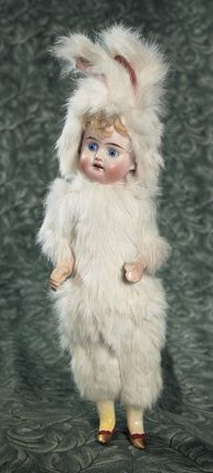 German Bisque Doll in Original Fur Bunny Suit. http://Theriaults.com