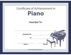 Pianists, organists and keyboard players will all enjoy this free, printable certificate of achievement for musical instruments, featuring a picture of a baby grand piano. Free to download and print