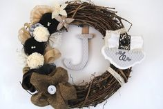 Mr & Mrs adornment on rustic burlap Classic style by AdornAWreath