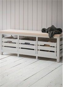 Emsworth Storage Bench with Three Chalk Crates