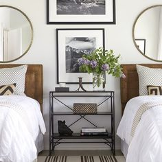 Styled night stand and guest bedroom.
