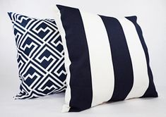 Navy and White Pillow Cover Navy Blue