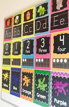 I just LOVE the chalkboard and chevron posters for my classroom this year! Simply gorgeous decor
