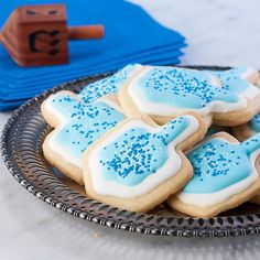 Hanukkah Butter Cookies with Royal Icing, Gluten Free.  Dreidels you can share at a party.