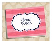navy and coral stripe candy buffet label tags