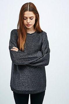 Light Before Dark Lurex Sweatshirt in Gunmetal - Urban Outfitters