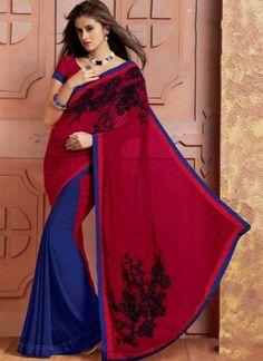 Beautiful Red Blue Patch Work Chiffon Satin Half n Half Sarees  http://www.angelnx.com/Bollywood