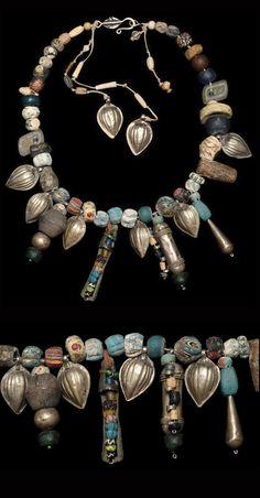 Made by Nevra Bozak, Turkey, purchased at Mehmet Cetikaya Gallery Faience, Roman and Islamic beads, Central Asian silver Tribal Jewelry, Boho Jewelry, Jewelry Crafts, Jewelry Art, Beaded Jewelry, Silver Jewelry, Handmade Jewelry, Fashion Jewelry, Jewelry Design