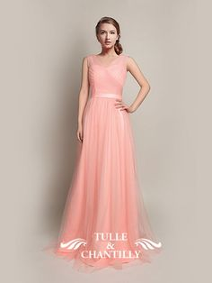 Hot V-Neckline Flowy Pleated Long Pink Tulle Bridesmaid Dresses