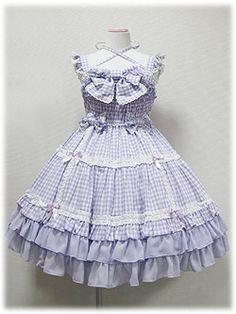 Lovely Ribbon Gingham JSK lavender - lolita dress wish list blouse su. Japanese Street Fashion, Korean Fashion, Female Fashion, Korean Blouse, Blouse Models, Angelic Pretty, Blouse And Skirt, Pretty And Cute, Lolita Dress