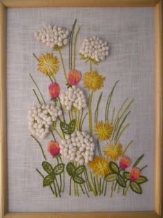 Gorgeous Large Vintage Framed Crewel Needlework Picture. Nature, Wildflowers, Queen Anne's Lace, 1970s. $28.00, via Etsy.