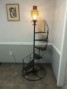 VINTAGE-78-TALL-WROUGHT-IRON-WOOD-SPIRAL-STAIRCASE-PLANT-STAND-WITH-LAMP