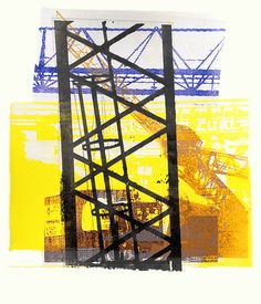 - Building activities & cranes near station Amsterdam-Zuid (South) - an unique colorful monotype in collage art, for sale