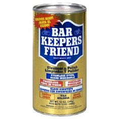 Bar Keepers Friend- gets rid of all those hard water stains and so much more