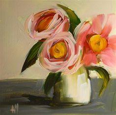"""camellias in little vase"" - Original Fine Art for Sale - © Angela Moulton"