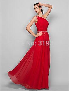 robe de soriee Cheap 2017 Red Bridesmaid Dress One Shoulder Beads Long Wedding Party Dress Vestido De Festa Graduation Dresses