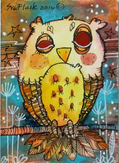 Owl ii by Sue Flask ACEO 2014 New Original Drawing Night Bird Miniature Card #ACEOartcards
