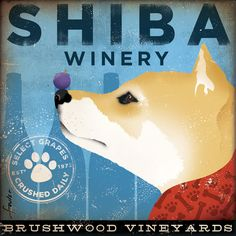 Shiba Inu Winery original graphic illustration giclee archival signed artist's print 12 x 12. $39.00, via Etsy.