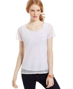 Ny Collection Petite Crochet-Lace Scoop-Neck Top