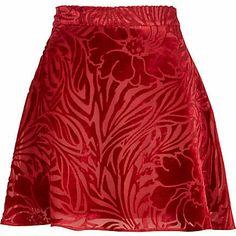 Red floral devore skater skirt $20.00