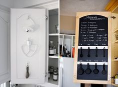 Smart Kitchen Organizing Ideas Make use of previously wasted space in your cabinets by adding hooks to the inside of the doors.Cabinet Cabinet or The Cabinet may refer to: Smart Kitchen, Kitchen Hacks, Kitchen Decor, Kitchen Ideas, Kitchen Unit, Condo Kitchen, Awesome Kitchen, Diy Kitchen, Kitchen Organization