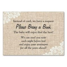 Burlap and Lace bring a book instead of a card insert card
