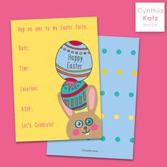 Easter Invite Printable Card // Easter Bunny by #CynthiaKatzDesign #easter #forkids