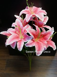 Sweet Home Deco 22'' Silk Stargazer Lily Artificial Flower Bouquet (7 Flower Heads) Home/ Wedding Decoration (Pink) ** Visit the image link more details.