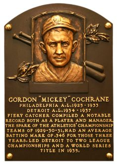 Mickey Cochran plaque Baseball Hall of Fame. My friend Mary's Grandfather.