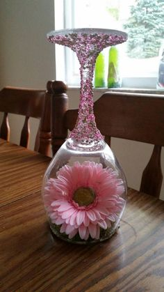 Pink Gerber daisy wine glass decorative candle by (no info available) MeredithsGifts Wine Glass Crafts, Wine Craft, Wine Bottle Crafts, Bottle Art, Wine Bottles, Wine Glass Candle Holder, Candle Holder Decor, Diy Wine Glasses, Painted Wine Glasses