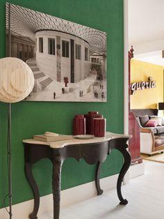 Emerald green-black and white...so chic!