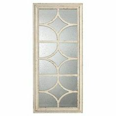"Brimming with heirloom-worthy style and on-trend appeal, this beautifully crafted wall decor showcases lattice overlay and mirrored accents. Product: Wall decorConstruction Material: Solid wood and mirrored glassColor: IvoryFeatures:   Ready to hang  Use for wall or floor      Dimensions: 59"" H x 27.5"" W"