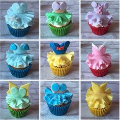Ideas for cupcakes disney fondant princess dresses Disney Cupcakes, Disney Desserts, Ladybug Cupcakes, Kitty Cupcakes, Snowman Cupcakes, Baking Desserts, Cupcake Wars, Cupcake Toppers, Cupcake Cookies