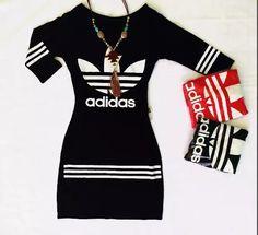 8a78e2f1bd4 vestido adidas curto manga semilonga adidas roupas femininas