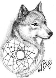 Animal Coloring Pages Dream Catchers   Dream catcher Wolf   01 février 2006