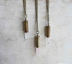 Rose Quartz Crystal Bullet Necklace  Boho by LaFreeBoheme on Etsy, $42.00