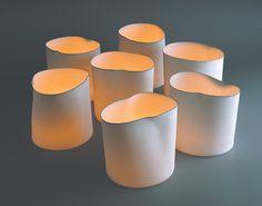 "Studio Pieter Stockmans - Belgian ceramic designer. Round windlights, 8"" diameter x 8"" H."