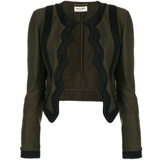 Saint Laurent braided scallop jacket ($13,900) ❤ liked on Polyvore featuring outerwear, jackets, green, long sleeve jacket, green cropped jacket, tailored jacket, punk jacket and woven jacket