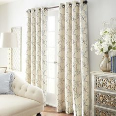 Cherry Blossom Curtain - Blue | Pier 1 Imports. Perhaps for the dining room and great room?