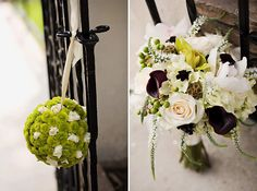 """You already know how I feel about flower balls...but this bouquet has very pretty colors in it! I love the dark flowers that could tie in my navy color and it has greenery in there too, except for those """"bug"""" flowers hanging down. I really love those little brown flowers in the middle (when used appropriately) and the small cream flowers that are directly to the left of the big green/yellow in the middle and are so cute!"""