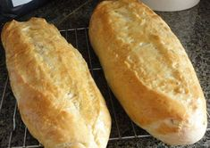 Crusty Italian Bread makes 2 loaves 1 1/3 cups warm water 2 1/4 teaspoons yeast 1 Tablespoon brown sugar 1 1/2 teaspoons salt 1 1/2 teaspoons olive oil 4 cups flour Directions: Place warm water, ye…