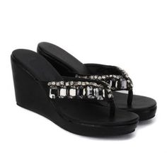 Cheap Wholesale New Arrival Rhinestones and Flip-Flop Design Wedge Heel Slippers For Women (BLACK,35) At Price 15.36 - DressLily.com