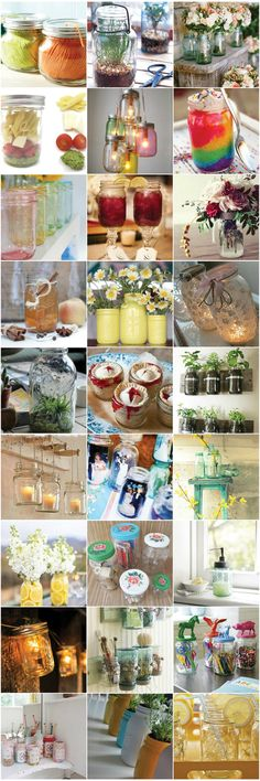 Mason Jars! i have so many! and they are just sitting around... im not doing anything with them...this is amazing! Pot Mason, Mason Jar Gifts, Mason Jar Diy, Bottles And Jars, Glass Jars, Pots, Love Jar, Carafe, Jar Art