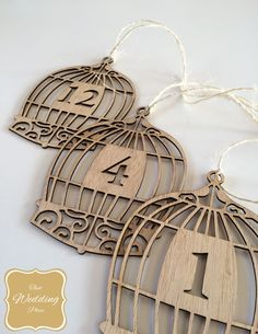 Wedding Table Numbers - Bird Cage Tie Around