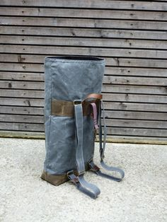 Waxed canvas rucksack/backpack with roll up top
